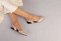 Женские бежевые кожаные босоножки, фото 1