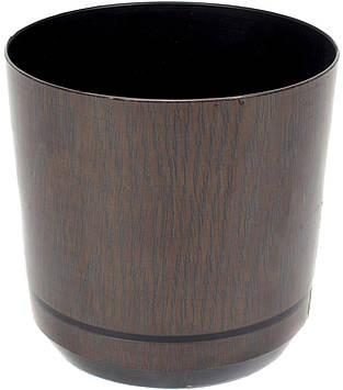Горщик квітковий пластиковий d160мм-33/0476,v-2,5 л темне дерево(10)