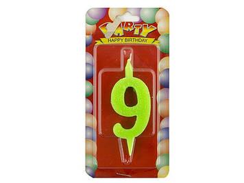 """Свічка в торт """"Цифра-9"""" кольор.(6)(72)"""
