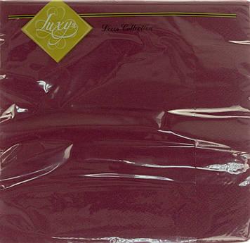 """Серветки столові ТМ """"Luxy"""" 3-х шарові (20шт) бордо(15)"""