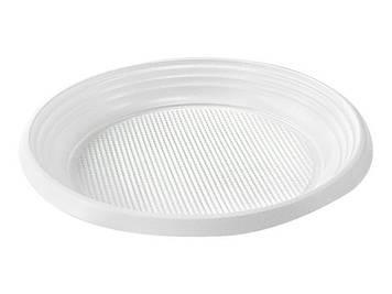Тарілка пласт. десертна d16,5см біла №1080121/Buroclean/(100)