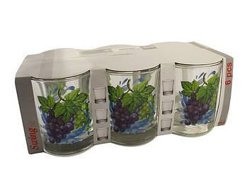 """Набір стаканів скло """"Виноград"""" (6шт) 250мл №05с1249/000472/Галерея/(6)"""