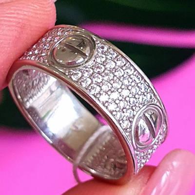 Срібне кільце з цирконієм в стилі Картьє - Брендове срібне кільце