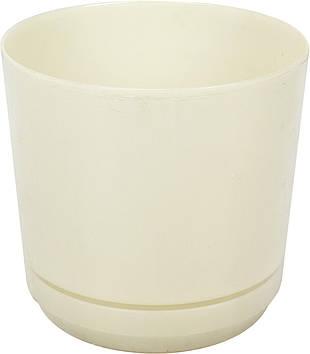 Горщик квітковий пластиковий d160мм-100,v-2,5 л слонова кістка(10)