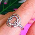 Женское серебряное кольцо с цирконием - Родированное серебряное кольцо с фианитами, фото 6