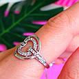 Женское серебряное кольцо с цирконием - Родированное серебряное кольцо с фианитами, фото 5