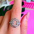 Женское серебряное кольцо с цирконием - Родированное серебряное кольцо с фианитами, фото 4
