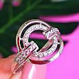 Женское серебряное кольцо с цирконием - Родированное серебряное кольцо с фианитами, фото 3