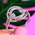 Женское серебряное кольцо с цирконием - Родированное серебряное кольцо с фианитами, фото 2
