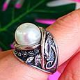 Крупное серебряное кольцо с жемчугом, фото 4