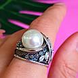 Крупное серебряное кольцо с жемчугом, фото 8