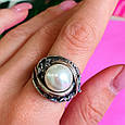Крупное серебряное кольцо с жемчугом, фото 7