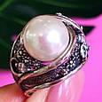 Крупное серебряное кольцо с жемчугом, фото 6