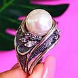 Крупное серебряное кольцо с жемчугом, фото 2