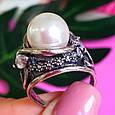 Крупное серебряное кольцо с жемчугом, фото 3