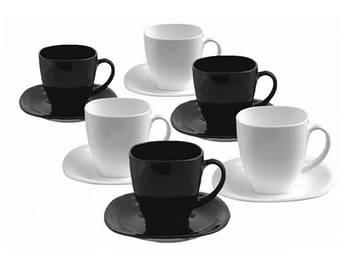 "Набір чайний скло 12предм.(6чаш.220мл+6бл.)""Luminarc.Carine White&BlacK""№D2371/00987(6)"