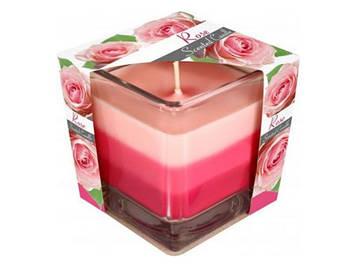 """Свічка з ароматом """"Bispol"""" snk80-78 8х8х8см h-32см троянда(6)"""