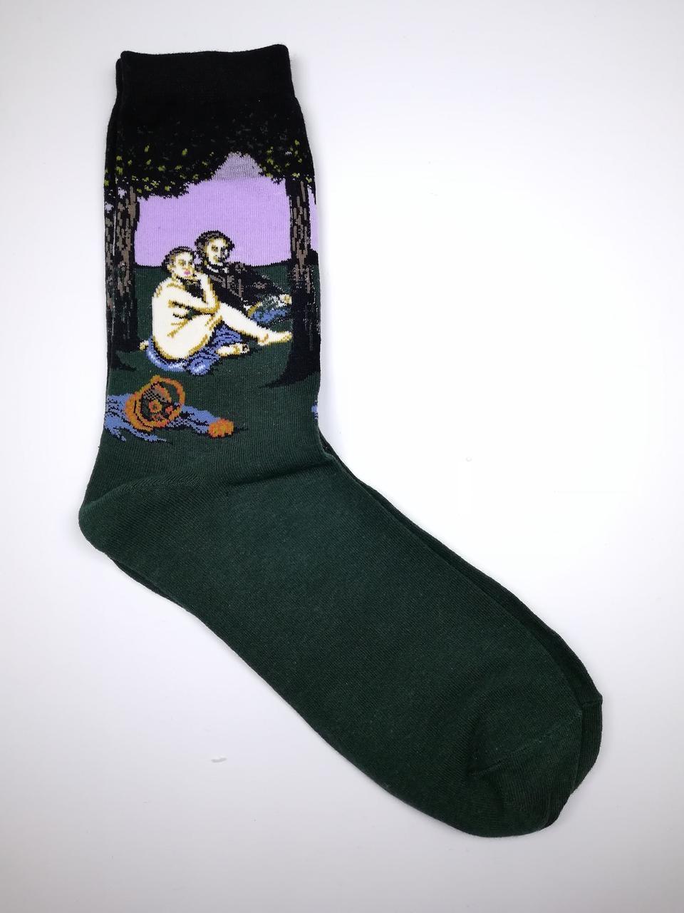 Мужские прикольные носки с принтом Завтрак на траве