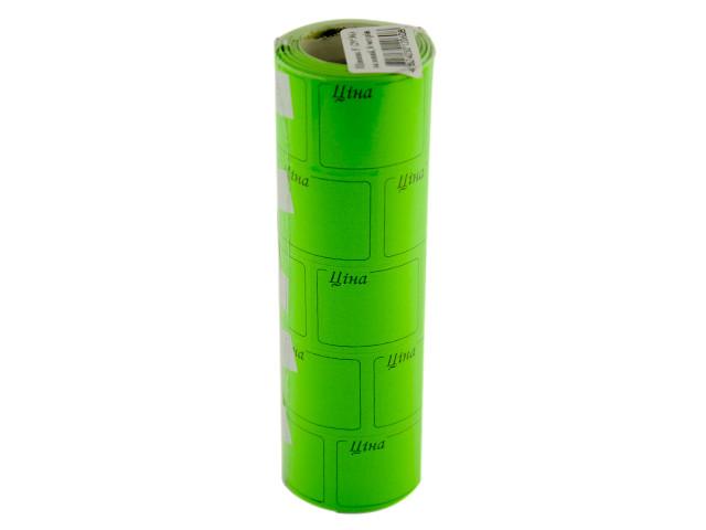 """Цінник клейкий в рул. F 6м """"Ціна"""" з рамкою 29х36мм (зелен.)(5)(440)"""