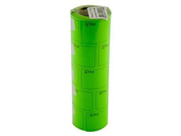 """Цінник клейкий в рул. F 6м """"Ціна"""" з рамкою 29х36мм зелений(5)(440)"""
