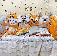 Двухсторонние бортики в кроватку для новорожденного, детское постельное белье PREMIUM
