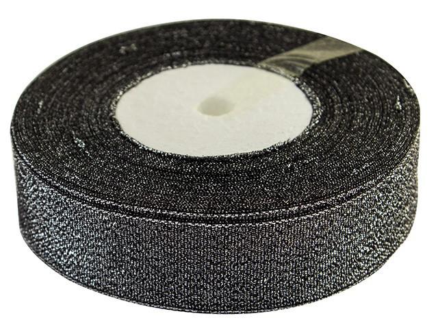Стрічка атлас парча 2,5см/21м (чорн.)(5)