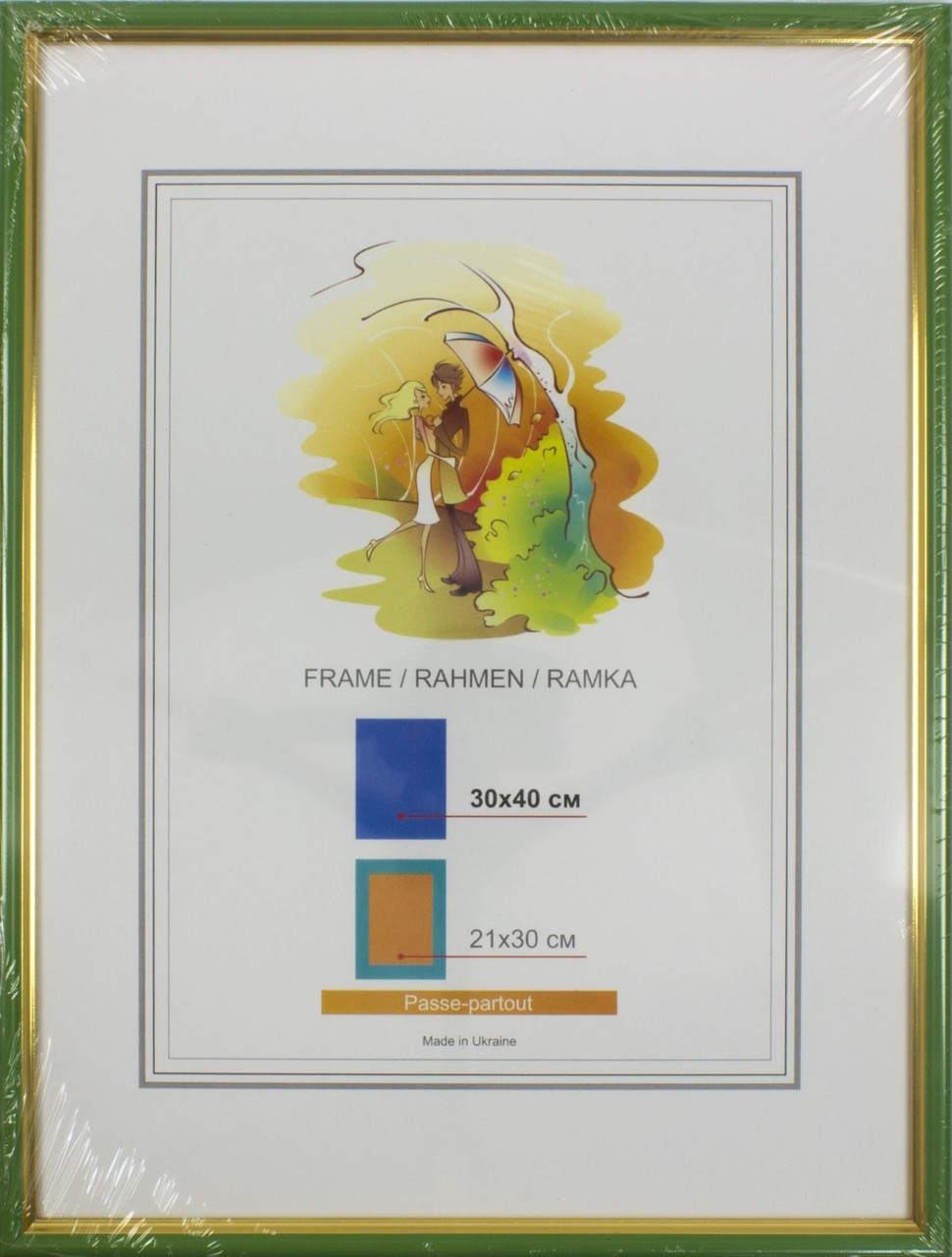 "Фоторамка ""LA"" 30х40 №LA-1-046 салатова, золота кайма(9)"