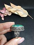 Хризоколла кільце з каменем хризоколла в сріблі.17,5-18 розмір. Природна хризоколла. Індія!, фото 5