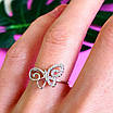 Нежное серебряное кольцо Бабочка - Кольцо с бабочкой серебро родированное, фото 3