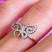 Нежное серебряное кольцо Бабочка - Кольцо с бабочкой серебро родированное, фото 8