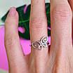 Нежное серебряное кольцо Бабочка - Кольцо с бабочкой серебро родированное, фото 7