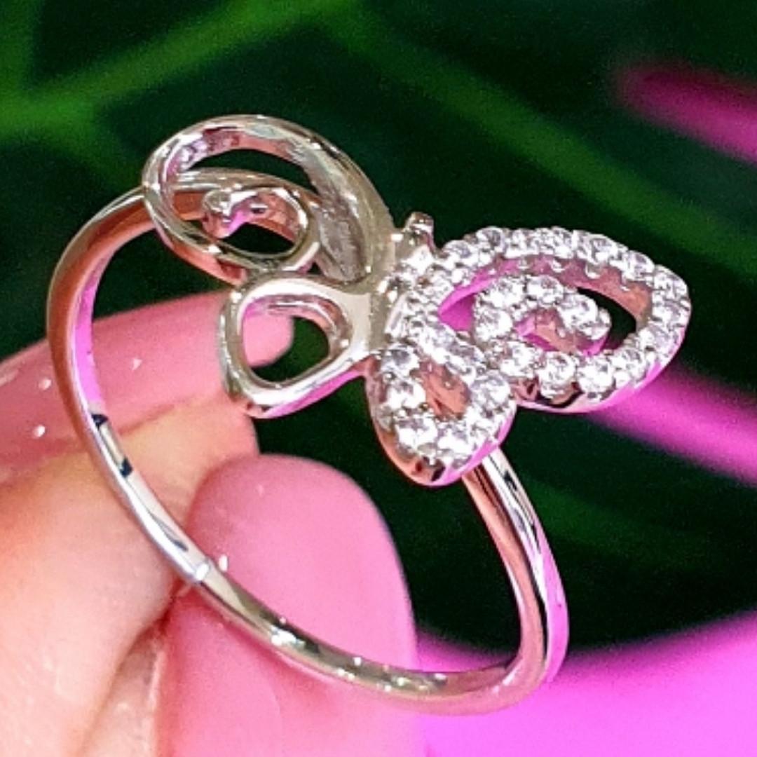 Нежное серебряное кольцо Бабочка - Кольцо с бабочкой серебро родированное