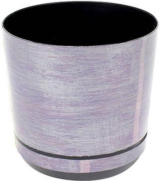 Горщик квітковий пластиковий d160мм-47,v-2,5л лілово-срібний(10)