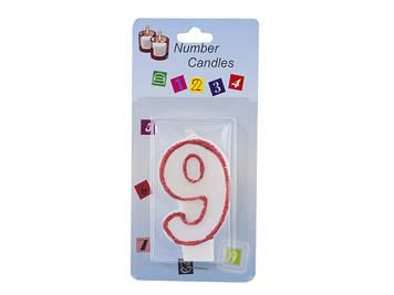 """Свічка в торт """"Цифра-9"""" біла з червоним обідком(10)(100)"""