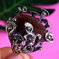 Крупное серебряное кольцо с улекситом - Необычное  женское серебряное кольцо