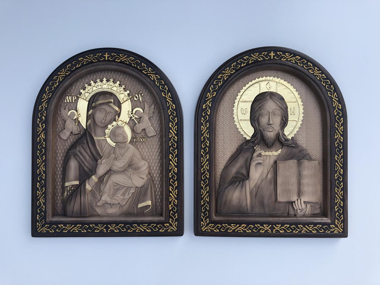 Вінчальна пара ікони Спасителя і Пресвятої Богородиці (Колір Горіх)