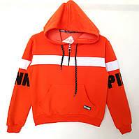 Молодежный свитшот с капюшоном на замочке - оранжевый - 42 размер! ОПТОМ, фото 1