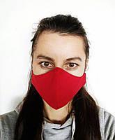 Маска для лица тканевая 2 слоя из хлопка многоразовая, красный цвет.