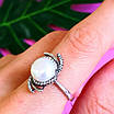 Серебряное кольцо с жемчугом и фианитами, фото 6