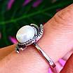 Серебряное кольцо с жемчугом и фианитами, фото 5