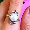 Серебряное кольцо с жемчугом и фианитами, фото 4
