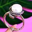 Серебряное кольцо с жемчугом и фианитами, фото 2