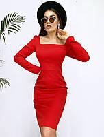 Женское стильное приталенное платье с квадратным декольте, фото 1
