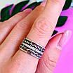 Женское серебряное кольцо с фианитами и чернением - Широкое женское серебряное кольцо, фото 8