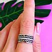 Женское серебряное кольцо с фианитами и чернением - Широкое женское серебряное кольцо, фото 5