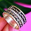 Женское серебряное кольцо с фианитами и чернением - Широкое женское серебряное кольцо, фото 2