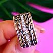 Женское серебряное кольцо с фианитами и чернением - Широкое женское серебряное кольцо, фото 3