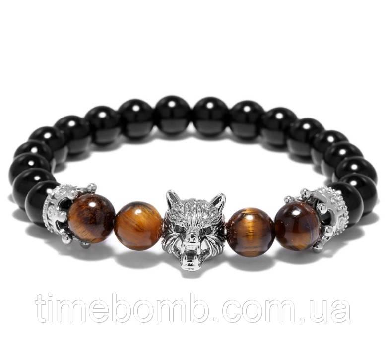 Мужской браслет Хищник из камня агат серый (19 см)