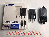 Сетевое зарядное устройство USB Samsung 2 А и micro кабель (2в1) Черный/
