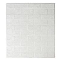 Декоративная 3Д панель ПВХ 1 шт, белый кирпич (5 мм)